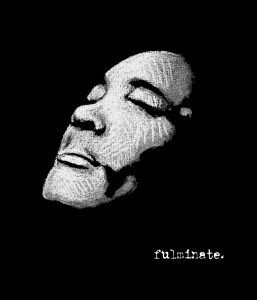 Cover for Nobi's album Fulminate features a pixelated black and white image of Nobi's face, eyes closed, looking to the sky.