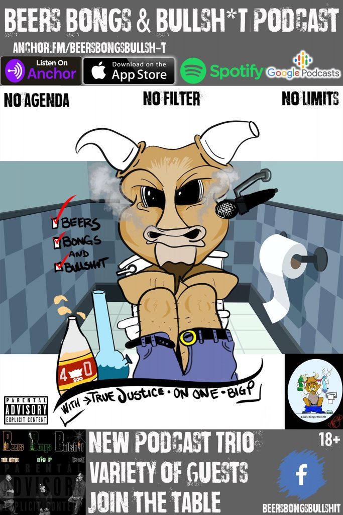 Promo image for Beers, Bongs, and Bullshit features a cartoon of a bull sitting on a toilet with a bottle of beer and a bong next to him.