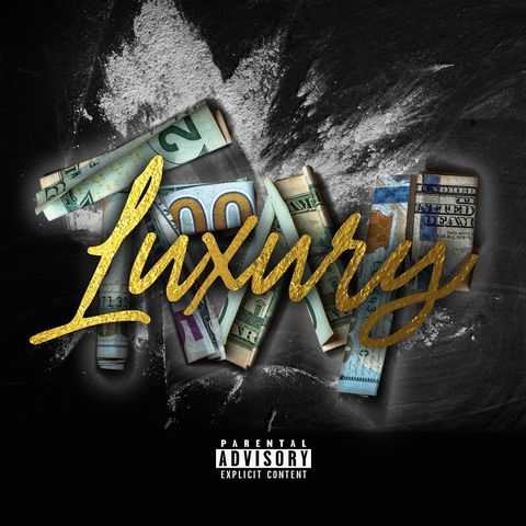 """On the cover for Lroc's """"Luxury / Trap"""" , the word 'luxury' is written in yellow,cursive lettering while the word 'trap' is formed by rolled up money formed into letters. Both words sit on top of a loose pile of cocaine."""