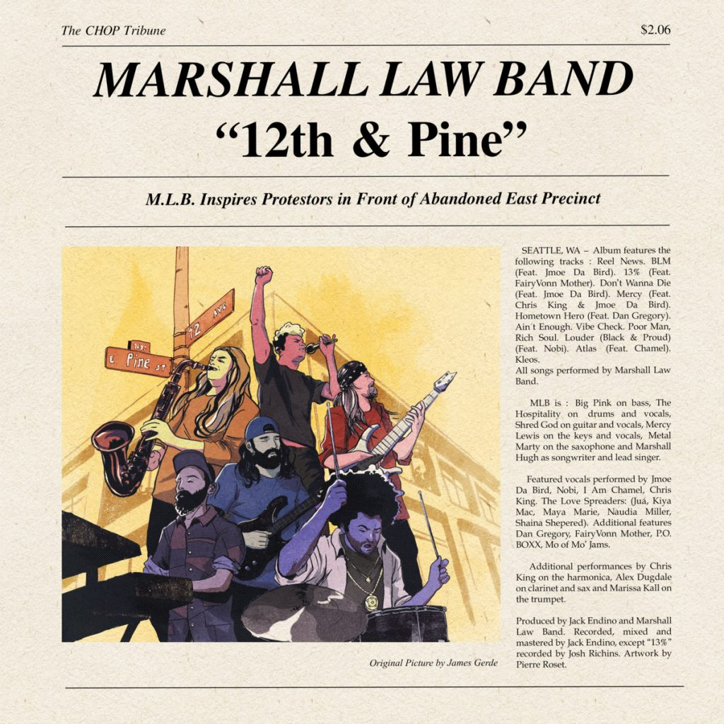12th and Pine album centers on a newspaper like front page image of the band jamming out on an inner city outdoor stage.