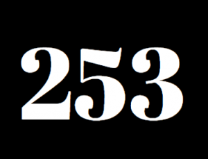 The numbers 253 representing Tacoma sit on a black background