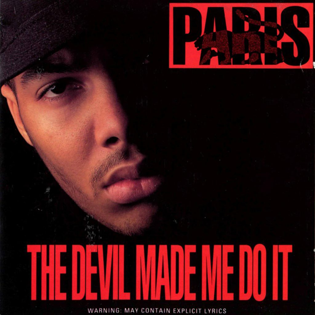 Cover for Paris album The Devil Made Me Do It features a darkened image of the rapper's face with red lettering.