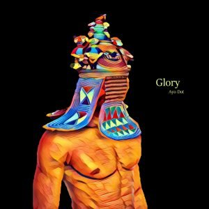 The cover of Glory by Ayo features a drawn graphic of a chiseled figure with an Egyptian styled headdress on.