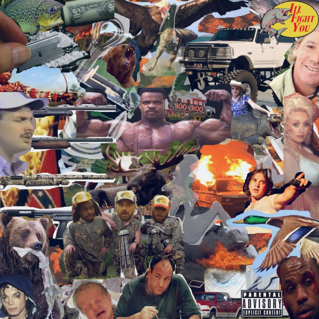 IllFIGHTYOUTOO cover is a collage of various pop culture images.