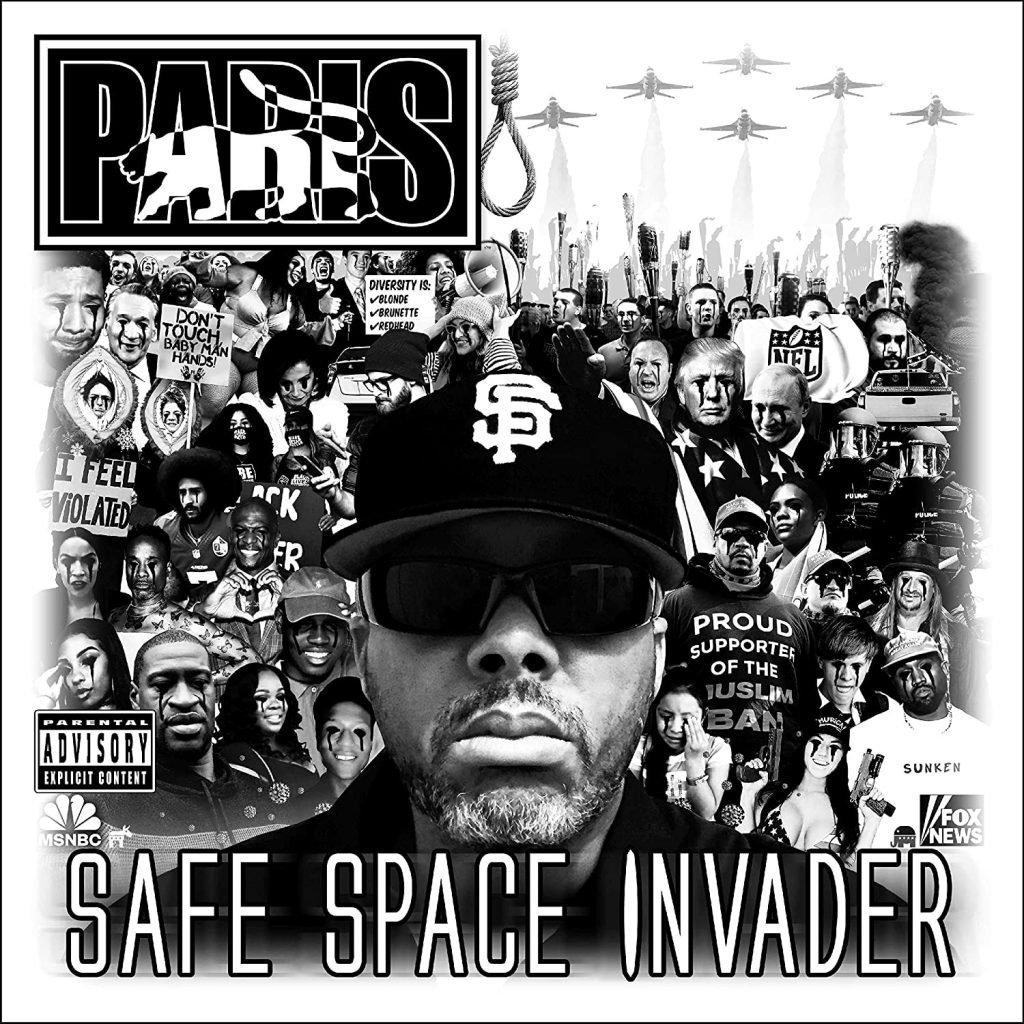 "Cover of Paris's album ""Safe Space Invader"" features the rapper imposed on a black and white collage of various images that directly affect Black people."