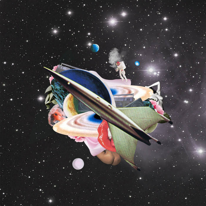 "Cover for ""Star Stereo"" from Blake Anthony features a drawn spaceship made up of collage of various galaxy related items."
