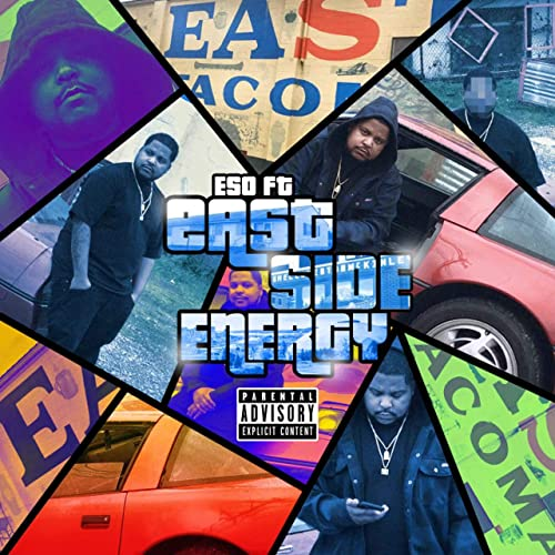 """Cover for ESO FT album """"East Side Energy"""" is a flip of the Grand Theft Auto video game series' covers with various pictures of ESO FT making up the collage."""