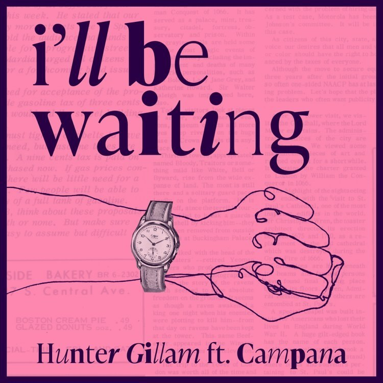 """Cover for Hunter Gillam track """"I'll Be Waiting"""" has a drawing of an arm with a watch on it against a pink background."""
