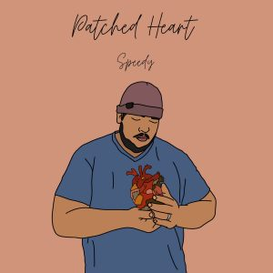 """Cover of """"Patched Heart"""" from Speedy has a drawing of him with his head looking down at his heart.."""