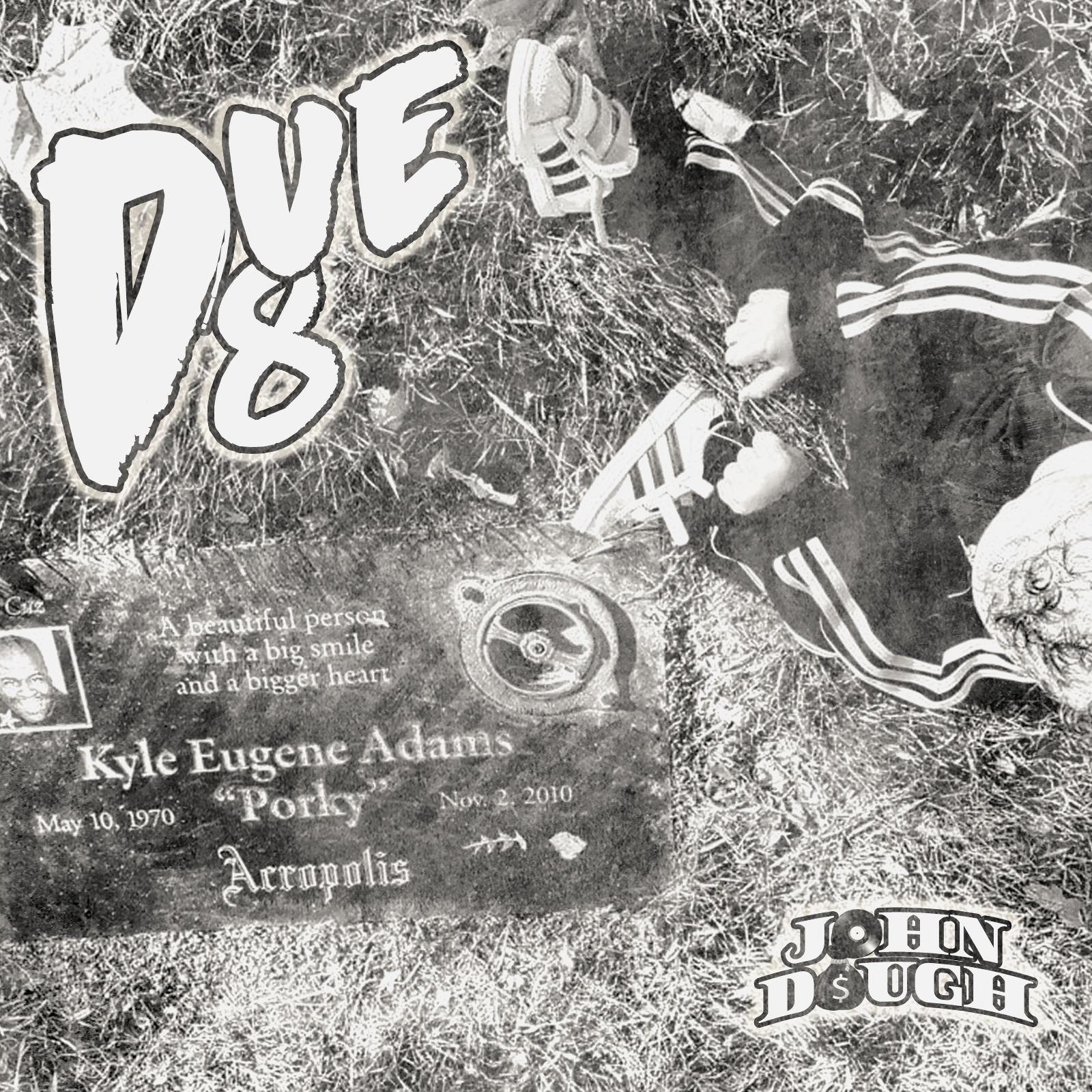 """Cover for """"Due D8"""" from John Dough 509 and Shao Sosa shows the headstone of Kyle Adams with a child sitting next to it."""