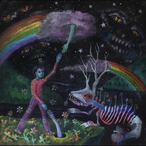 """Cover for Myles Bullen album """"Healing Hurts"""" is a hand drawn capture of a blue alien figure standing under rainbows in front of a skeletal elk."""