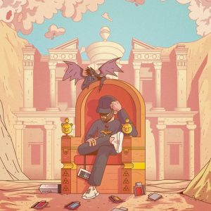 """Cover for Savelli and Chris Kemp song """"Humble Energy"""" features a comic style drawing of Savelli sitting on a throne in a ruin with a purple dragon perched on the throne."""