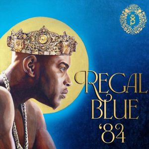 """Xperience album """"Regal Blue '84"""" cover has a drawn picture of the shirtless rapper wearing a crown and looking intently off to the right."""