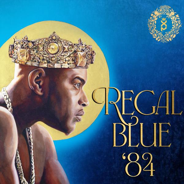 "Xperience album ""Regal Blue '84"" cover has a drawn picture of the shirtless rapper wearing a crown and looking intently off to the right."