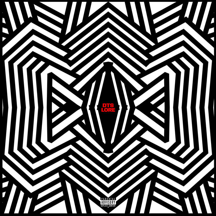 "Cover for Dark Time Sunshine album ""Lore"" is a black and white blend of lines that seem to form a symmetrical flower."