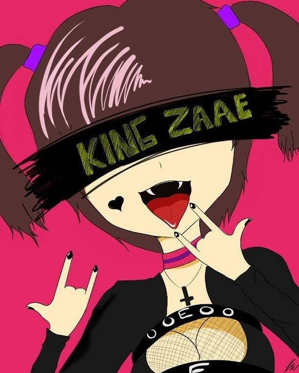 """Cover for King Zaae single """"Rockstar Girl"""" is a cartoon of a young female vampire throwing up rocker hands."""