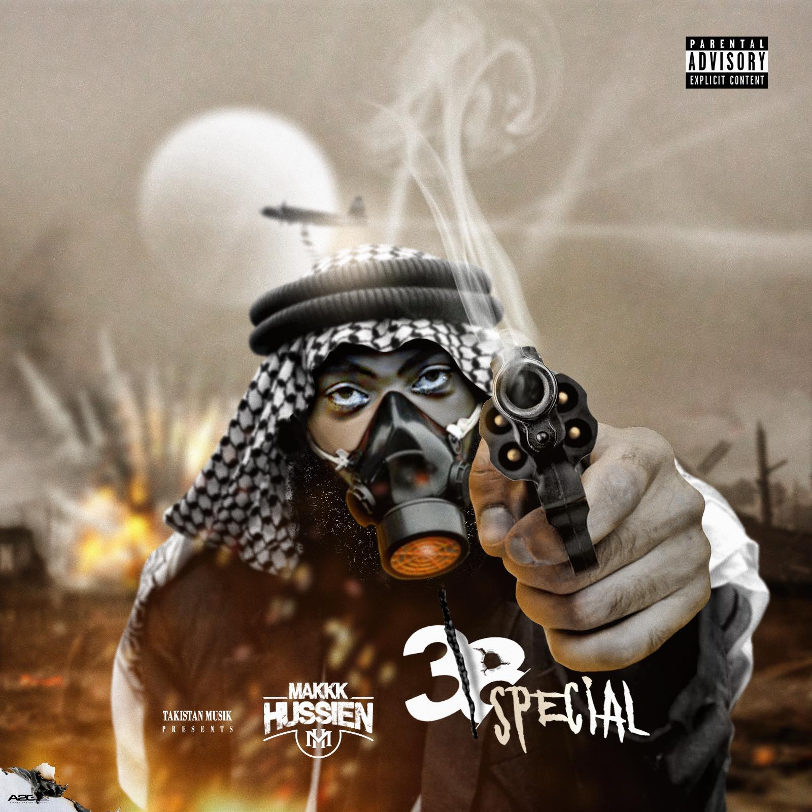 "Cover for Makkk Hussien EP "".38 Special"" features a hand drawn picture of the rapper wearing a ghutra and holding a pistol while bombs go off in the desert background."