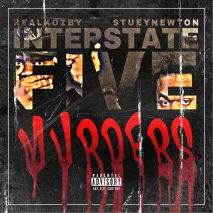 """Cover for """"Interstate 5 Murders"""" has the faces of Stuey Newton and Real Kozby imposed into the letters that make up the word five."""