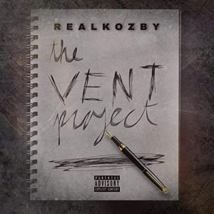 """Real Kozby """"The Vent Project"""" cover is a handwritten notebook sheet with the album title on it."""