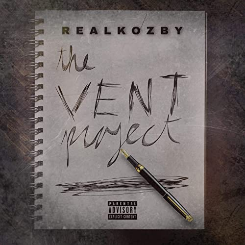 "Real Kozby ""The Vent Project"" cover is a handwritten notebook sheet with the album title on it."