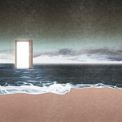 "Cover for TrussOne beat tape ""In Another Time"" features an open doorway standing in the middle of the ocean."