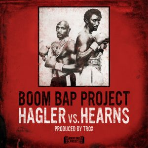 """The Boom Bap Project are back with """"Hagler vs Hearns"""" and the cover features a picture of the boxers in a prefight promo shot over a red background."""