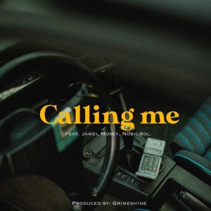 """Cover for """"Calling Me"""" from Grimeshine shows the interior of a car with a cell phone sitting near the center console."""