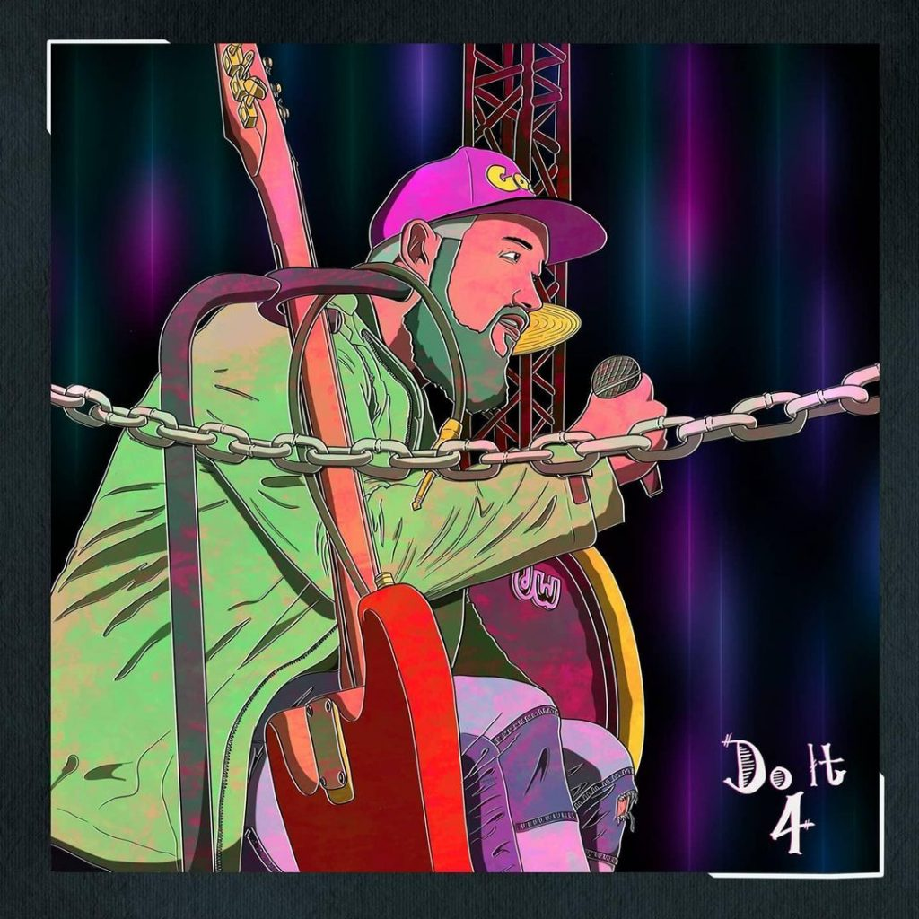 """Iyzlow Matisse has a new song called """"Do It 4"""". On the animated cover here, he is seen on stage holding a mic next to a guitar."""