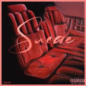 """Jaywop """"Suede"""" cover shows two front car seats in red tinted suede."""
