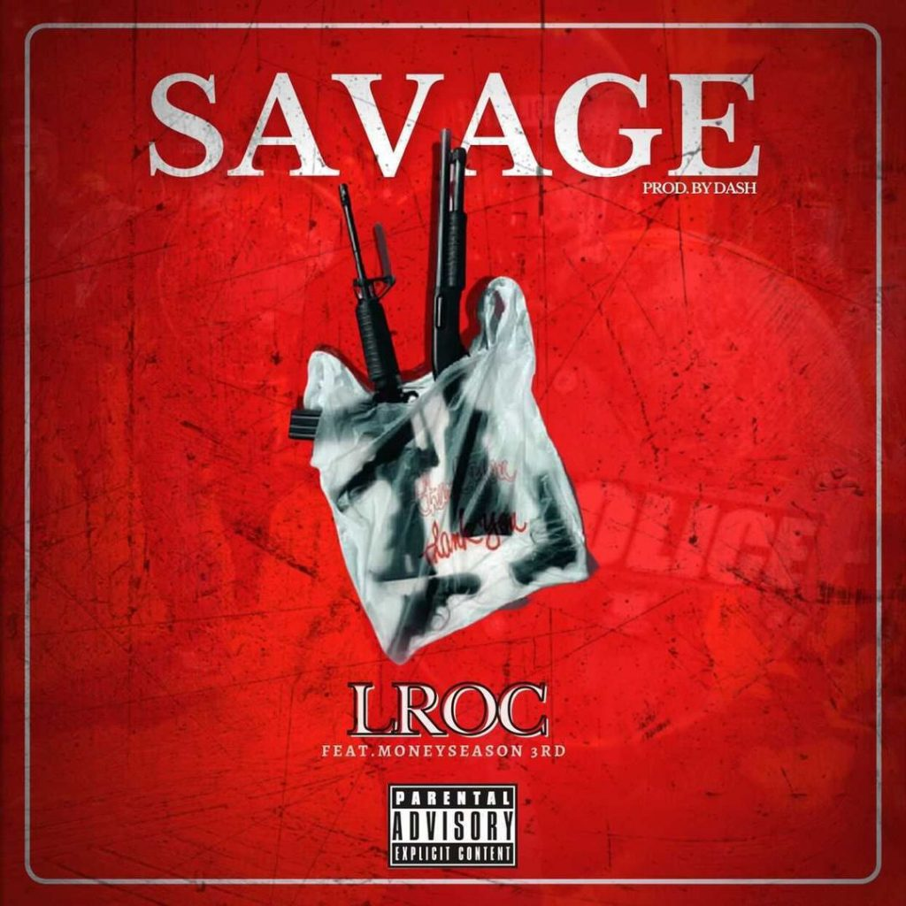 "Cover for Lroc single ""Savage"" has four guns stuffed into a plastic shopping bag."