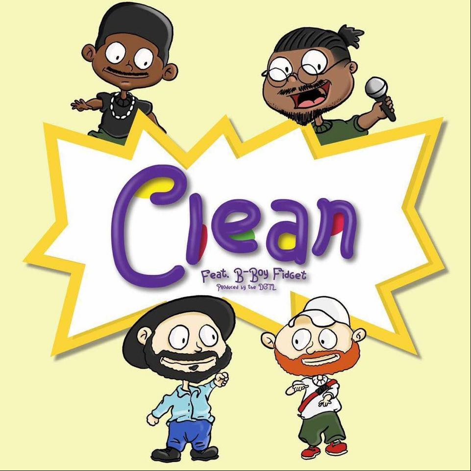 """Cover for Nobi single """"Clean"""" is drawn in the style of RugRats cartoon with pictures of Nobi, B-Boy Fidget-, theDGTL, and Philip Peterson."""