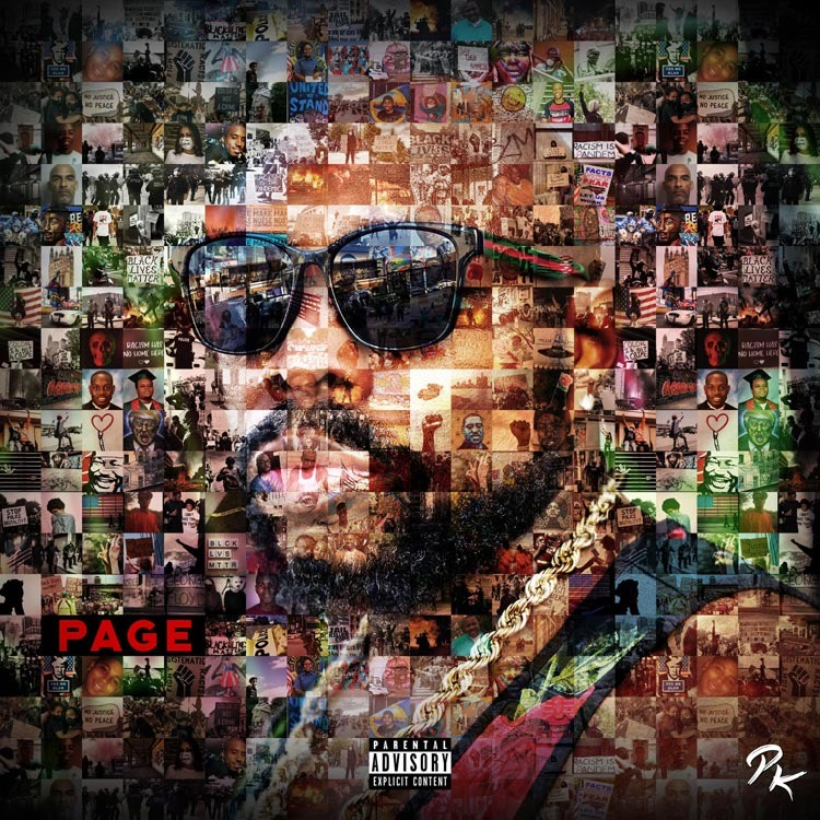 "Page Kennedy has a new album out called ""Page"" and here on the cover is a collage of images from current events that forms a picture of the rapper's face."