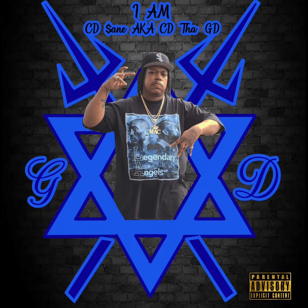 """Cover for CD $ane's """"I Am"""" shows the rapper throwing up the sign for Black Gangster Disciples while superimposed in a six pointed star."""