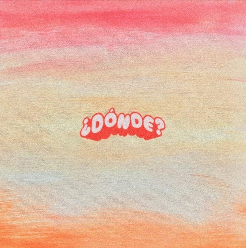 """Cover for Dave Shanaé single """"¿Dónde?"""" is a reddish/orange blurry background with the word """"¿Dónde?"""" in the center."""