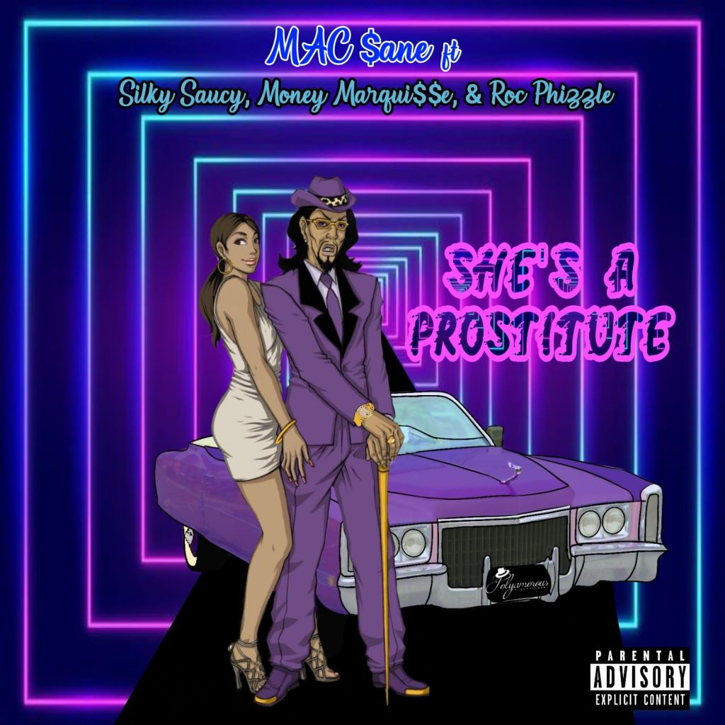 """Cover for Mac $ane's """"She's a Prostitute"""" is a cartoon drawing of a pimp and hooker standing in front of a purple sedan."""