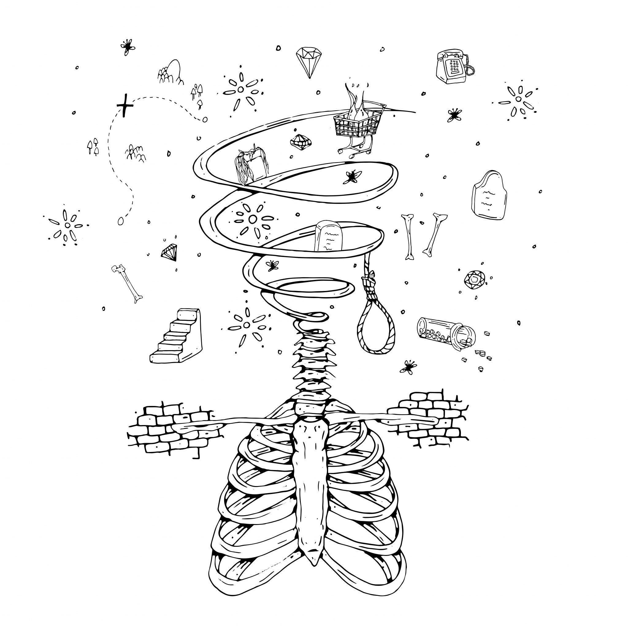 "Cover for Myles Bullen and Mosart 212 EP ""Looking For a Body"" is a hand drawn collage centering on a human skeleton torso with an arrow through it while numerous life influence icons like gravestones, prescription drugs, and a noose hover over it."