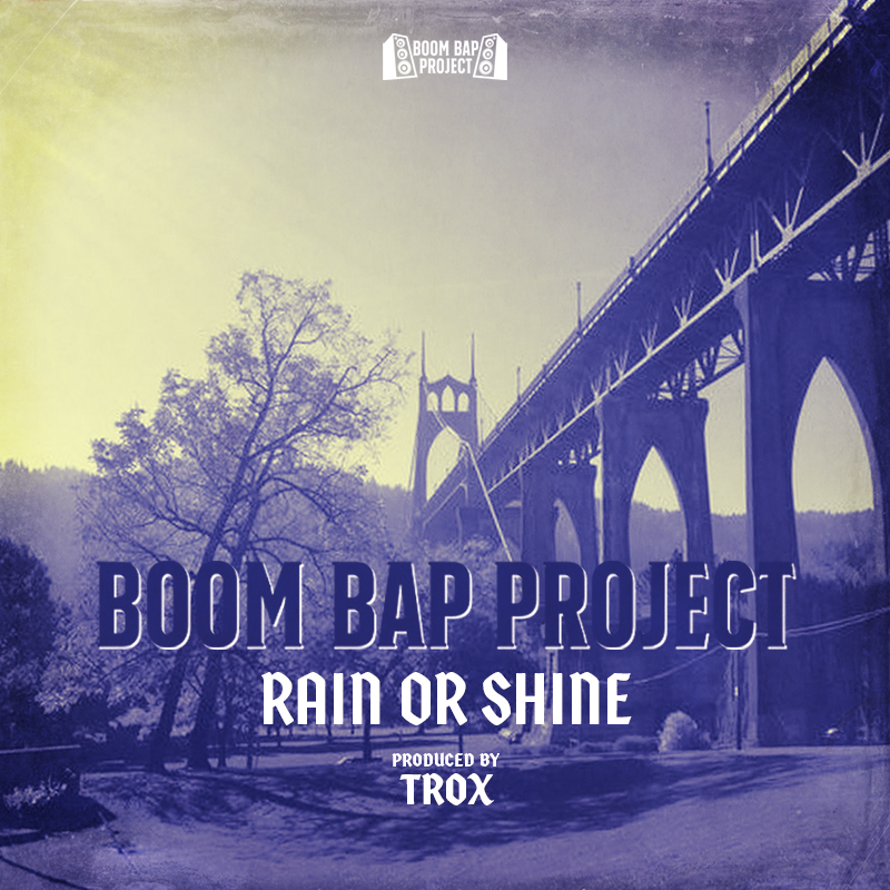 Cover for the Boom Bap Project's Rain or Shine shows a city bridge against a blue tinted skyline.