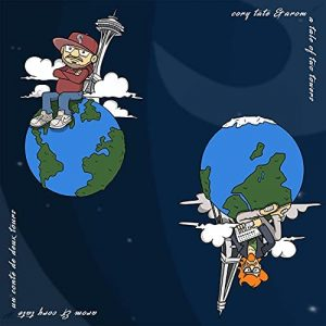 """Cover for Cory Tate and Arom's """"A Tale of Two Towers"""" features a cartoon with Cory sitting on planet Earth leaning against the Space Needle and Arom sitting on a different planet Earth leaning against the Eiffel Tower."""