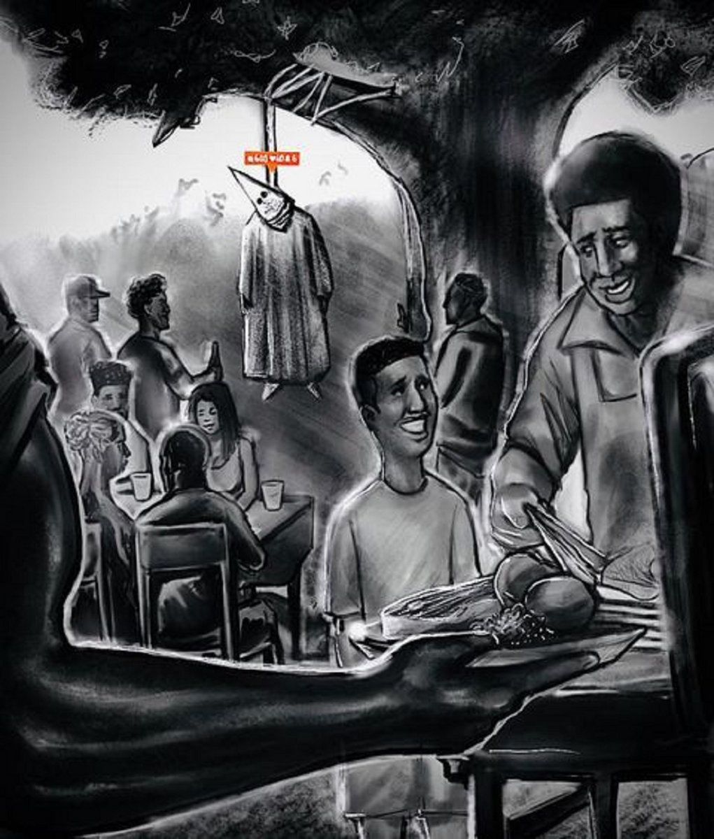 """Cover for Hanif's """"No Sympathy"""" is a hand drawn capture of happy African American families having a cookout while a Ku Klux Klan member hangs from a tree."""