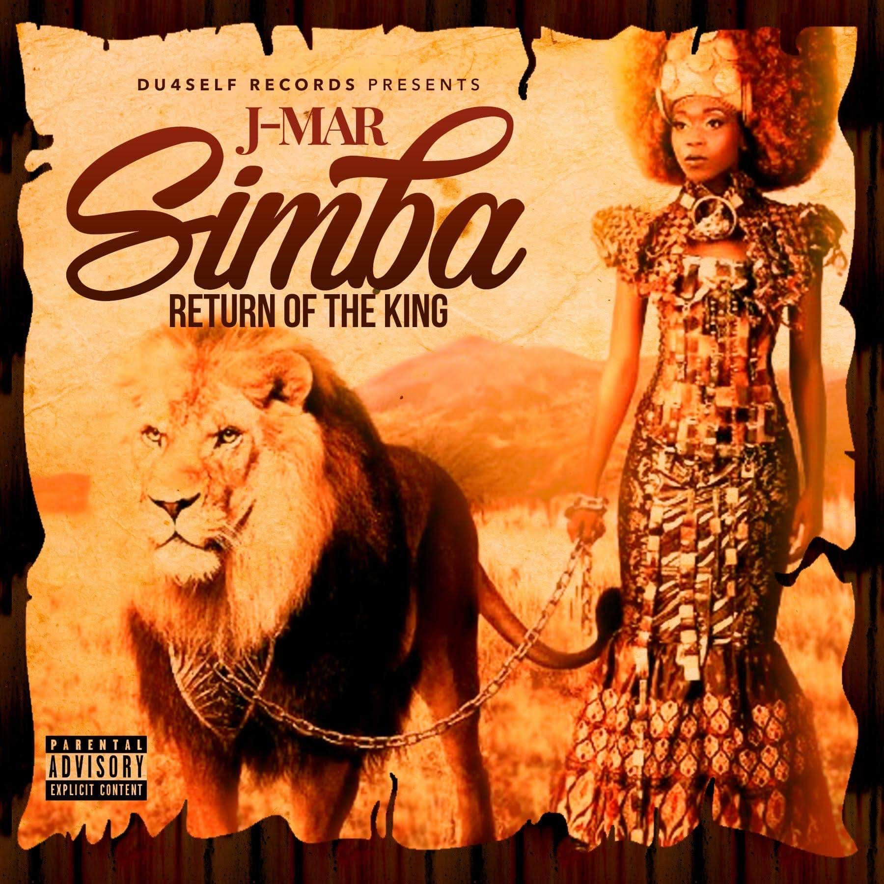 """Cover of J-Mar EP """"Simba: Return of the King"""" features a beautiful African queen holding a lion by a chain."""