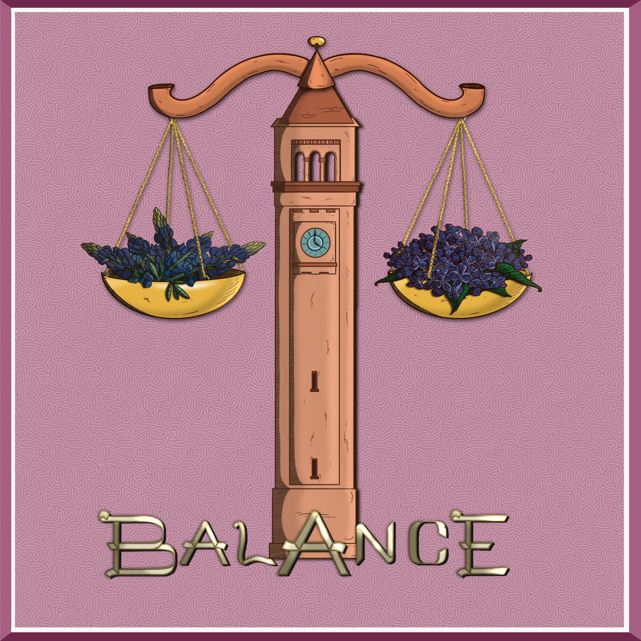 """John MF Ward and Iyzlow Matisse cover for """"Balance"""" has a drawing of scales with lilacs on one half and blue bonnets on the other representing Texas and Spokane."""
