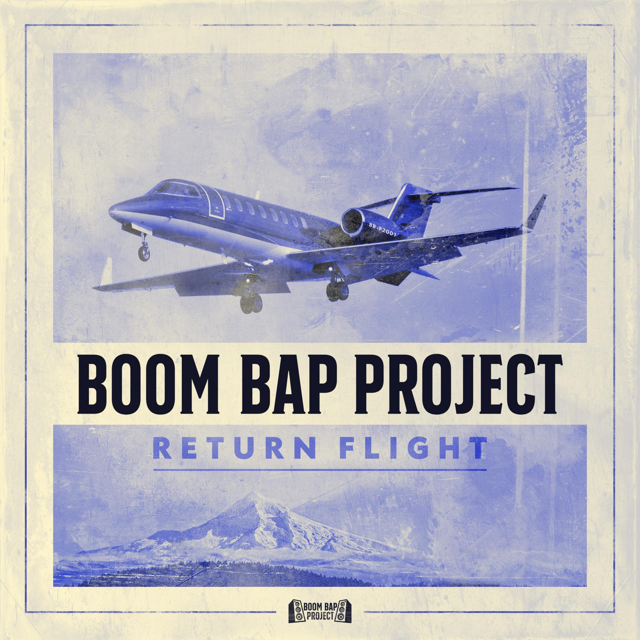 """Boom Bap Project album """"Return Flight"""" cover pictured here where a commercial airplane is seen flying past Mount Rainier."""